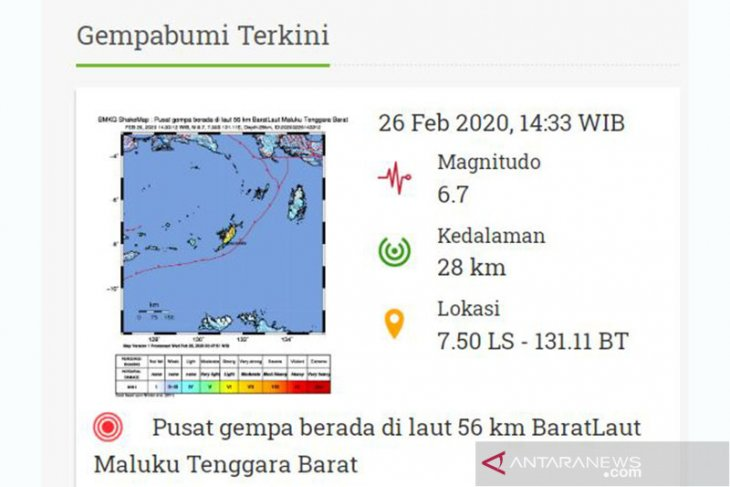 Gempa 6,7 SR guncang Saumlaki Maluku
