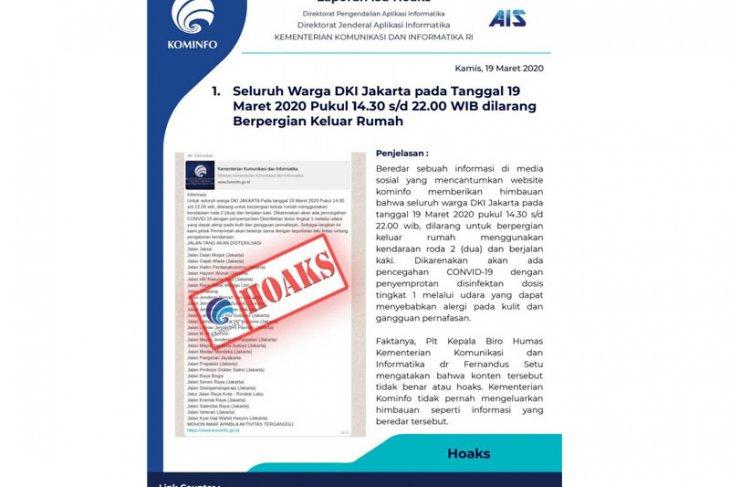 Kementerian Kominfo: penutupan jalan untuk semprot disinfektan hoaks