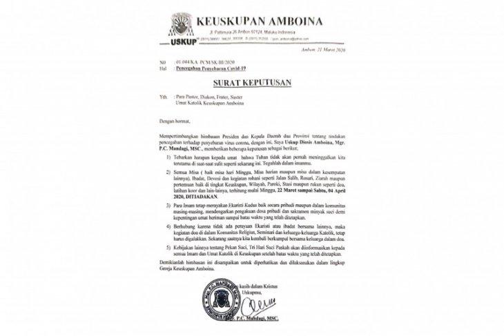 Uskup Amboina tiadakan misa di Maluku-Maluku Utara