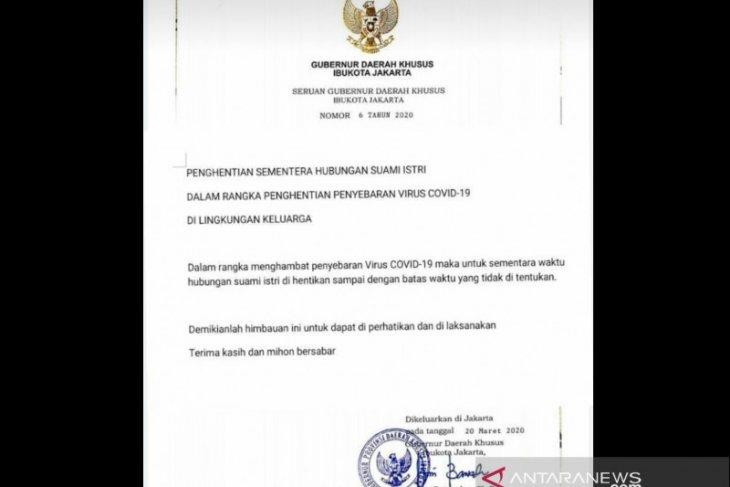 Beredar seruan hoaks Gubernur DKI tentang penghentian hubungan suami istri