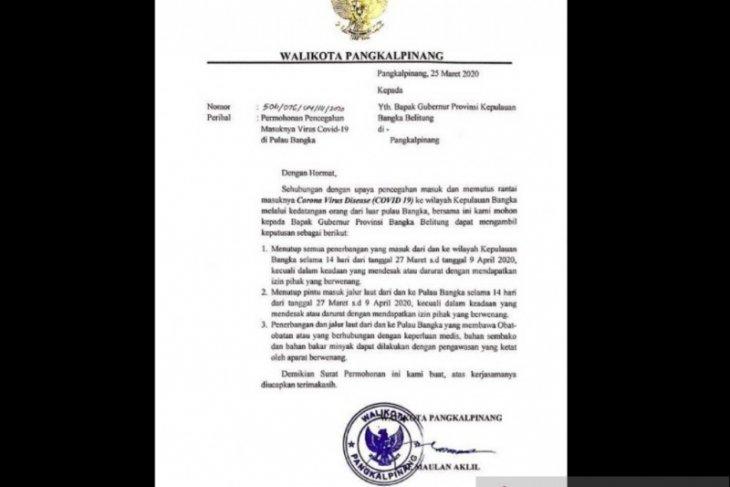 Wali Kota Pangkalpinang minta Gubernur tutup pintu masuk ke Babel