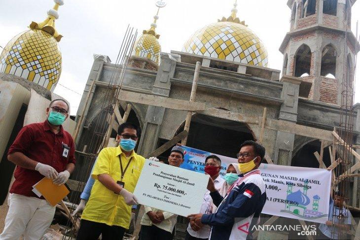 Pelindo Sibolga bantu pembangunan masjid Al Jamil Rp75 juta