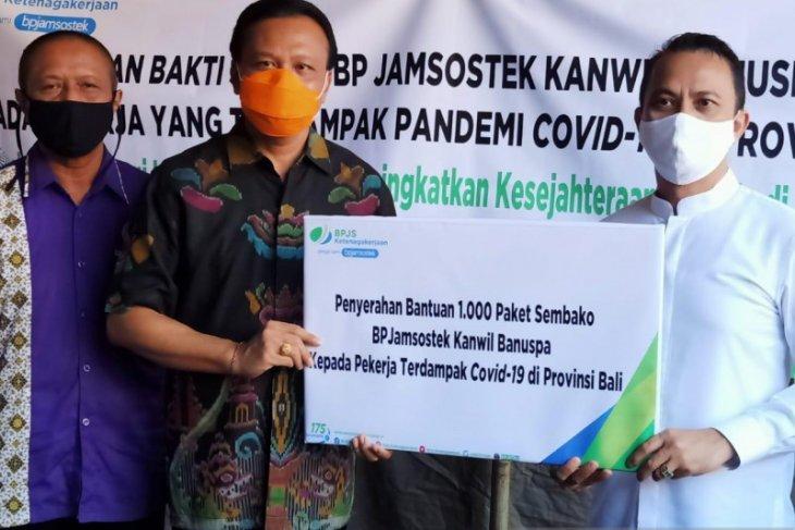 BPJAMSOSTEK Banuspa bantu 1.000 paket  sembako kepada pekerja ter-PHK di Bali