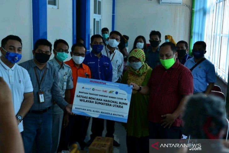 Padangsidimpuan terima sumbangan APD dari Satgas bencana BUMN Sumut