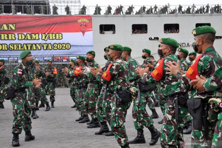 450 prajurit Yonif 125/SMB diberangkatkan amankan perbatasan Indonesia-Papua Nugini