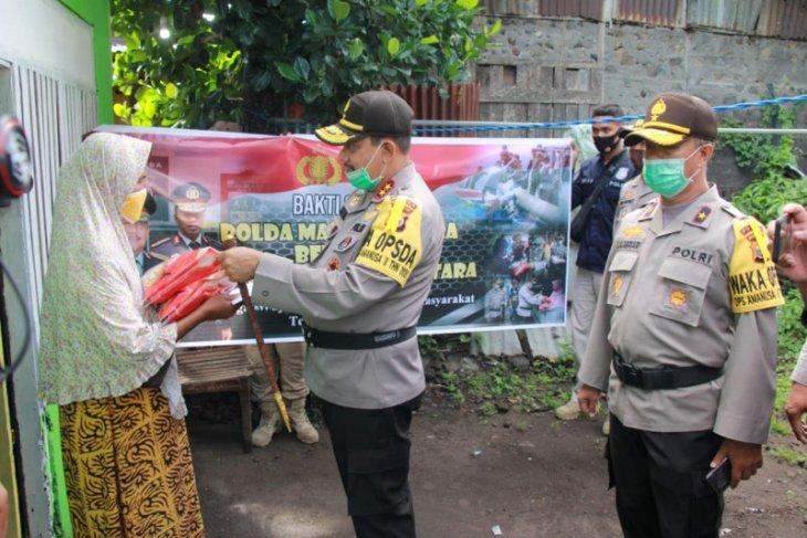 Polda Malut bekerja sama dengan  pers salurkan bantuan beras