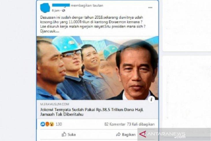 Hoaks, Jokowi pakai Dana Haji Rp38,5 triliun