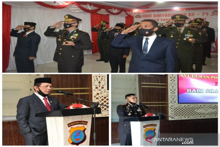 Bupati Tapsel hadiri upacara Peringatan HUT Bhayangkara ke-74 secara virtual