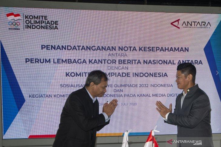 KOI dan LKBN ANTARA kerja sama dukung Indonesia tuan rumah Olimpiade 2032