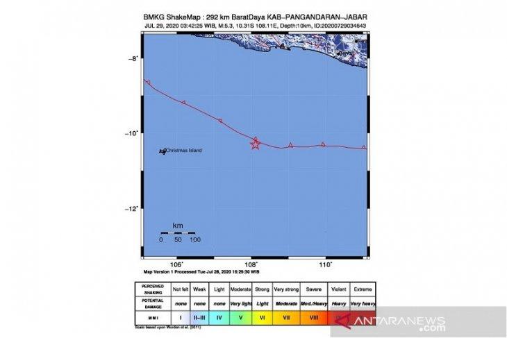 Gempa 5,3 magnitudo guncang  Pangandaran Jawa Barat
