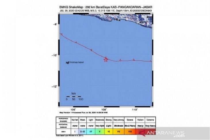 BMKG: Gempa magnitudo 5,2 di Pangandaran