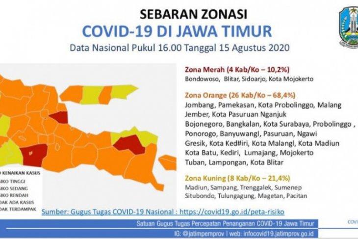Empat daerah masih zona merah COVID-19 di Jatim