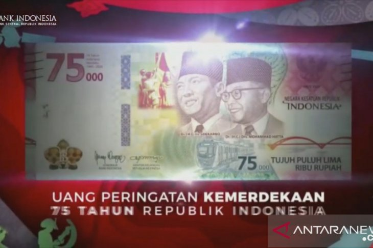 Uang rupiah khusus HUT ke-75 RI pecahan 75.000 sebanyak 75 juta lembar