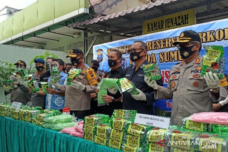 North Sumatra police seize 100-kg crystal meth, 50,000 ecstasy pills