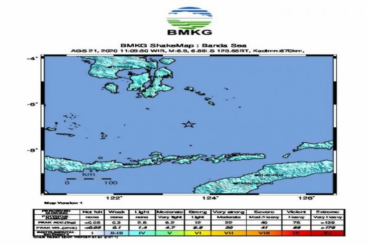 Gempa  6,9 SR di Laut Banda dirasakan di Wakatobi dan Kendari