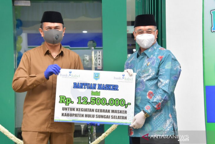Peresmian gedung baru di Kandangan, Bank Kalsel berdonasi untuk Gebrak Masker