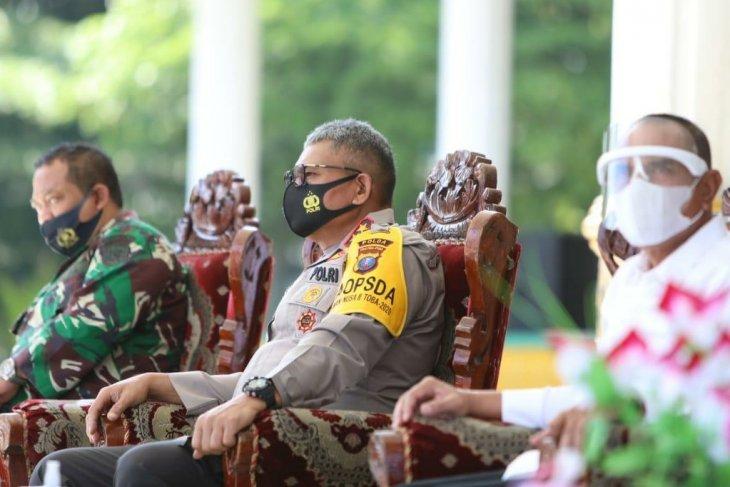 Kapolda  Sumut ikuti virtual pembagian masker di Lapangan Merdeka