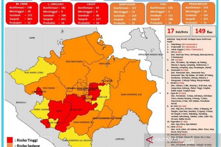 Zona merah COVID-19 di Sumsel bertambah menjadi tiga wilayah