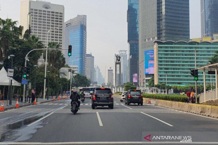 PSBB di Jakarta, Jalan MH Thamrin-Sudirman ramai lancar