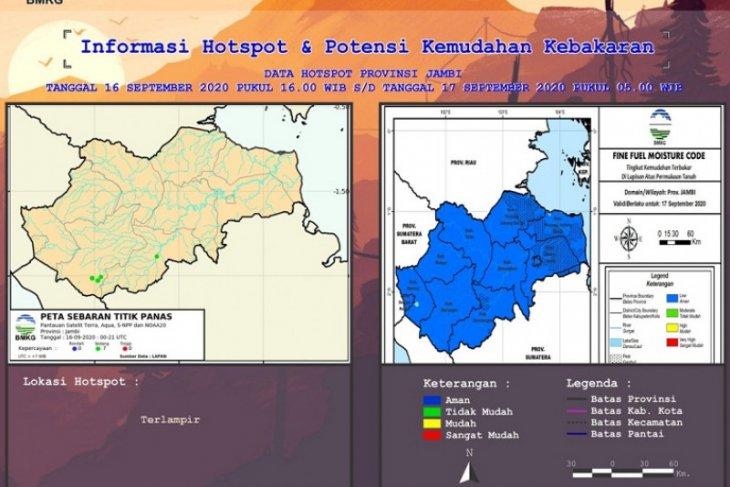 Peta Hotspot dan Kemudahan Kebakaran di Jambi, Kamis (17/9)