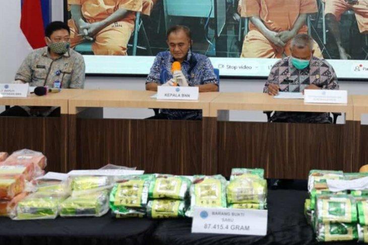 BNN ungkap kasus dengan barang bukti capai 87 kg sabu selama September