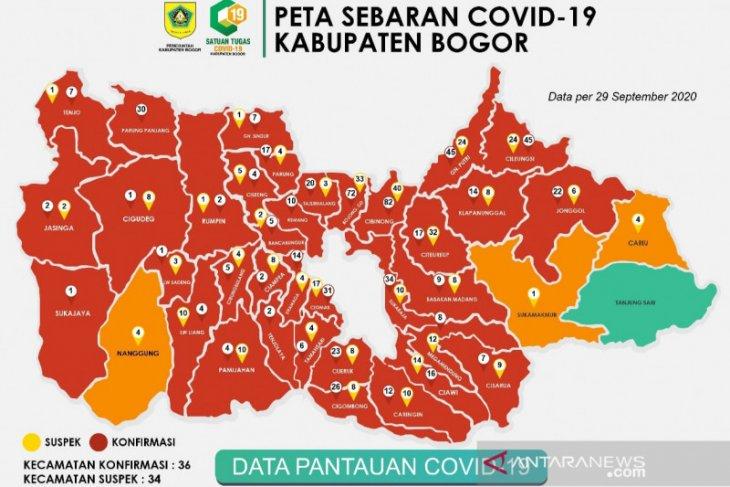 36 kecamatan di Bogor berstatus zona merah penularan COVID-19