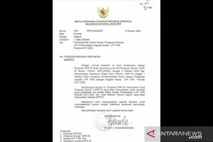 Ketua DPR kirim surat ke Presiden terkait pemberhentian Ketua Dewas TVRI