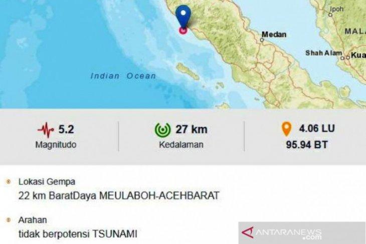 Gempa dengan magnitudo 5,2 di Meulaboh,  tidak berpotensi tsunami