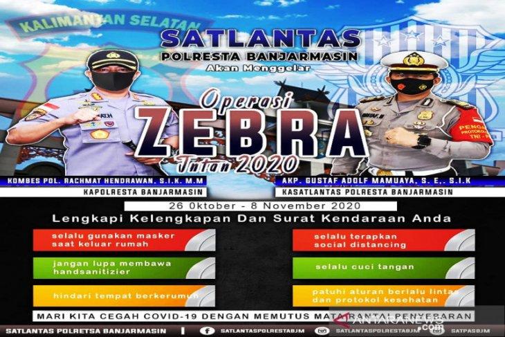 Tekan pelanggaran, Polresta Banjarmasin gelar Operasi Zebra Intan 2020