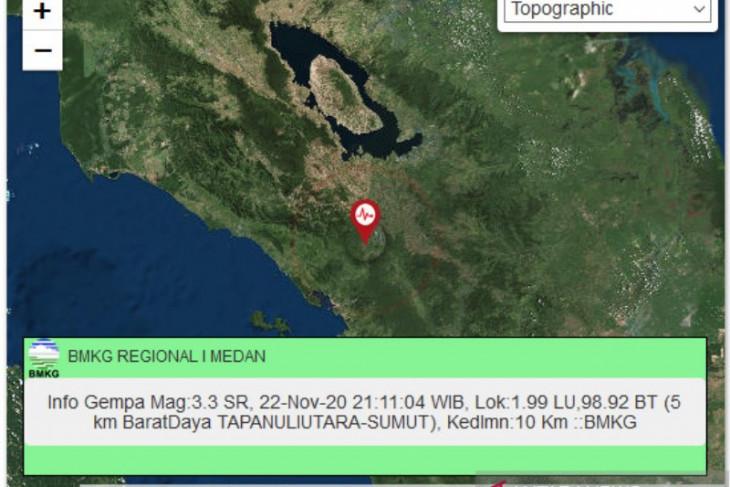 Gempa magnitudo 3,3 guncang Tapanuli Utara