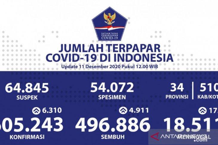 Kasus COVID-19 di Indonesia bertambah 6.310 jadi 605.243 kasus