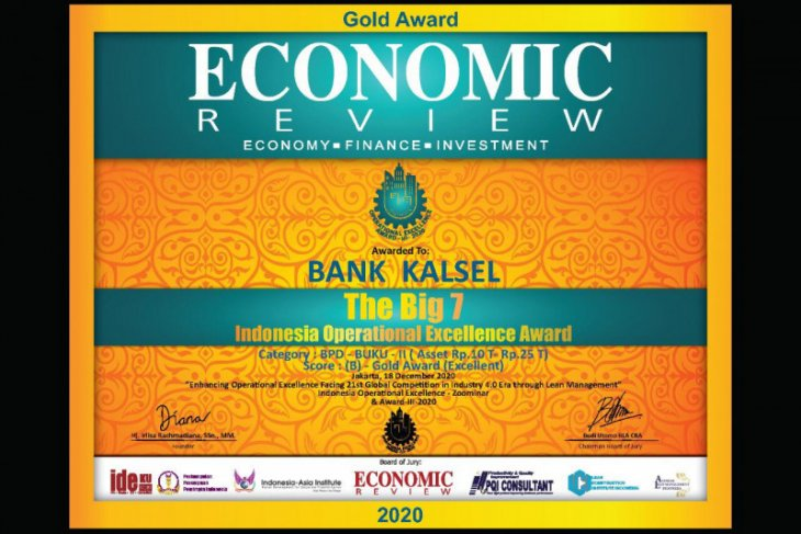 Bank Kalsel raih Indonesia Operational Excellence Award 2020 dari Economic Review