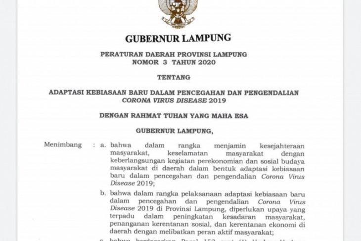 Lampung terapkan denda Rp1 juta bagi para pelanggar protokol kesehatan