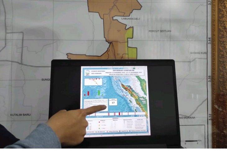 Pekan IV Desember, terjadi 17 gempa di Sumut dan Aceh