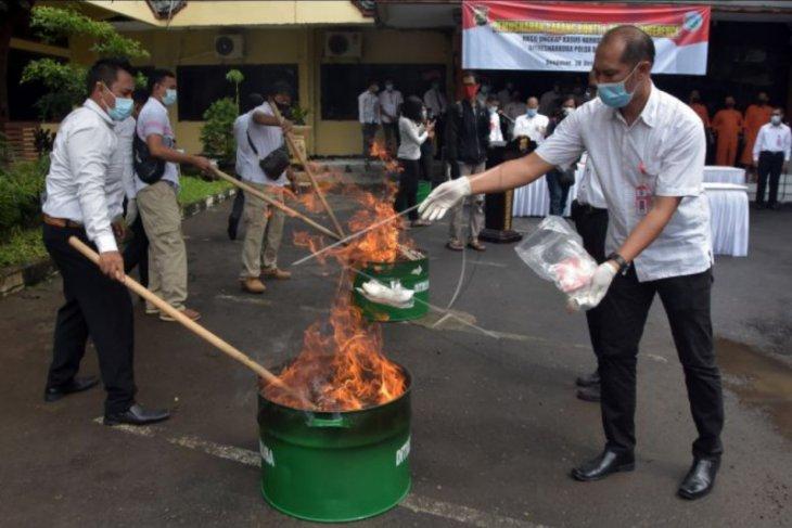 Pemusnahan narkoba di Polda Bali