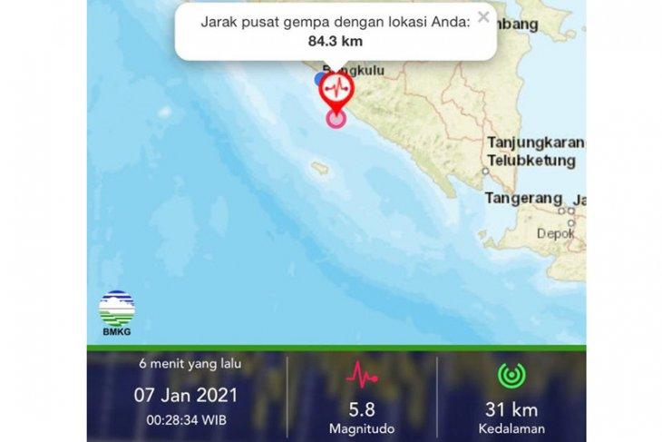 Gempa bumi magnito 5,8 di Bengkulu tidak berpotensi tsunami