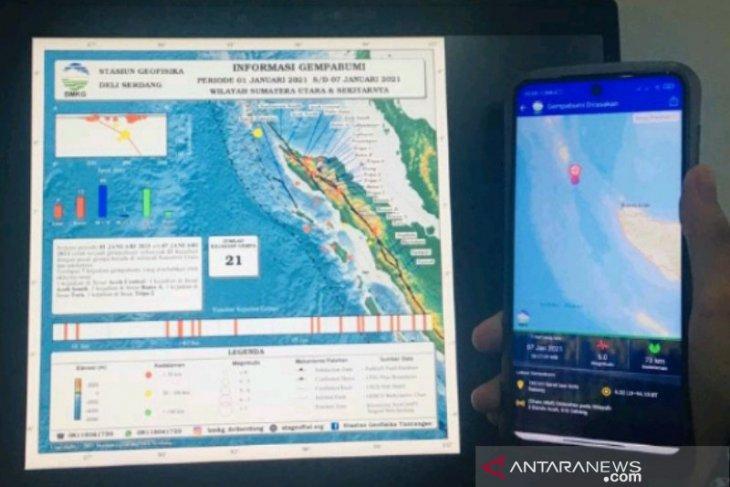 21 gempa bumi guncang Sumut dan Aceh di awal tahun 2021