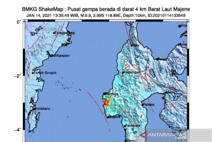 Gempa magnitudo 5,9 guncang Majene, dipicu sesar naik Mamuju