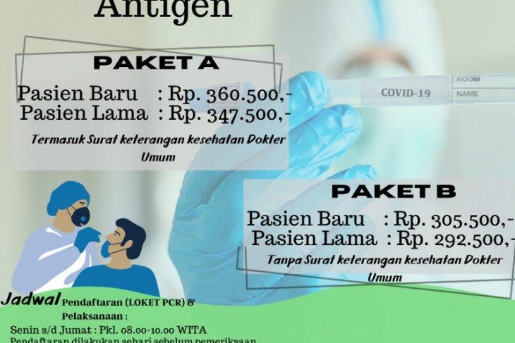 Biaya rapid tes antigen di RSUD Kabupaten Paser Rp360.500