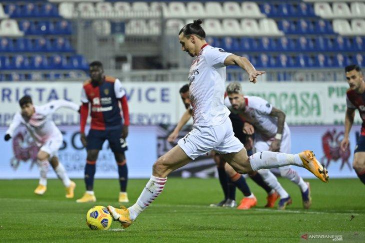 Dua gol Ibrahimovic kunci kemenangan Milan atas Cagliari