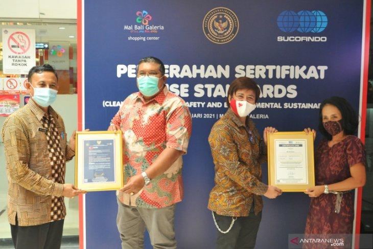 Dispar Bali-Sucofindo serahkan sertifikat CHSE untuk Mal Bali Galeria