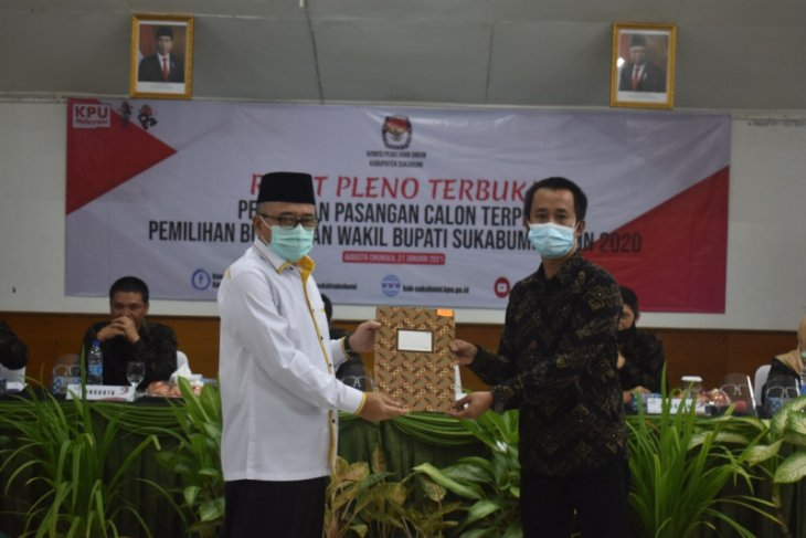 KPU Sukabumi tetapkan Marwan Hamami-Iyos Somantri sebagai bupati dan wakbup terpilih