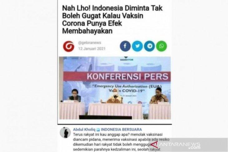 Hoaks, Indonesia tidak boleh gugat efek samping vaksin COVID-19