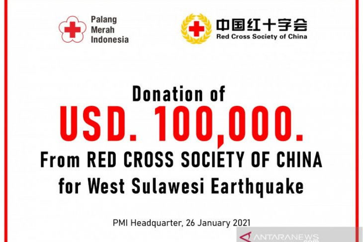 PMI terima donasi 100 ribu dolar AS untuk penanganan gampa Sulbar dari Palang Merah China