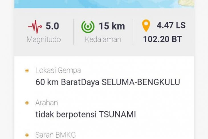 Gempa magnitudo 5 guncang Bengkulu