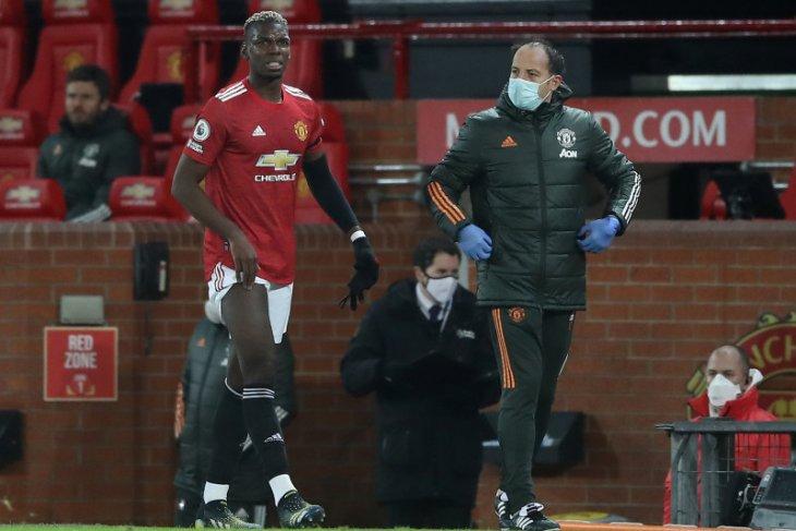 Pogba absen beberapa pekan karena cedera paha saat United seri 3-3 melawan Everton