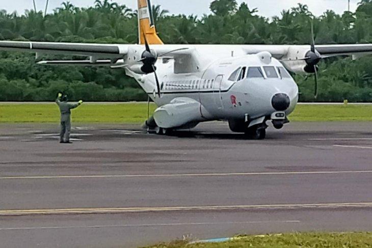 Pesawat Hercules uji coba mendarat perdana di Bandara Kuabang Kao