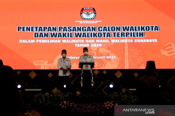 Eri Cahyadi - Armuji ditetapkan pemenang Pilkada Surabaya