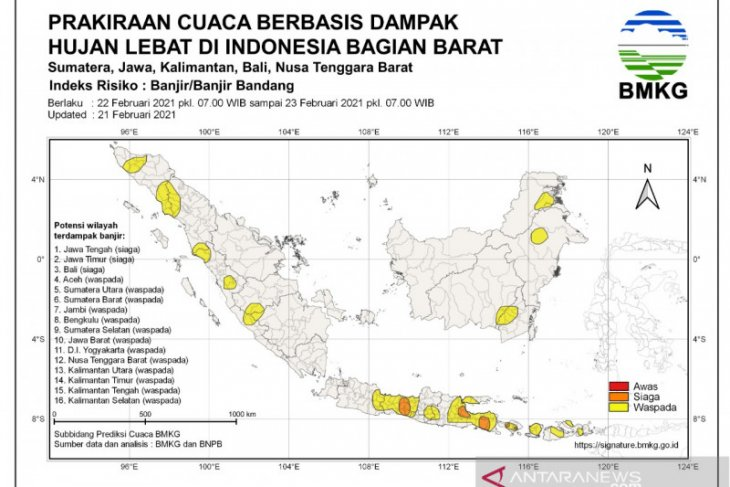 BMKG ingatkan lima provinsi dalam siaga banjir pada 22-23 Februari