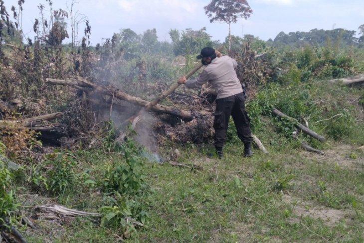 Kebakaran lahan  di Simpang Terusan, polisi dan tim penanganan  Karhutla  padamkan api